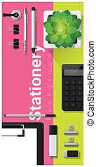 Stationery scene with office equipment on colorful background 4
