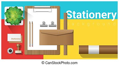 Stationery scene with office equipment on colorful background 5