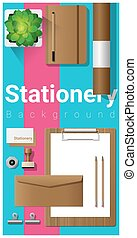 Stationery scene with office equipment on colorful background 6