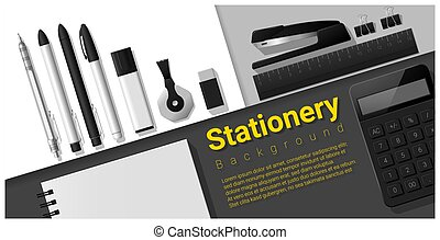 Stationery scene with set of office supplies background 4