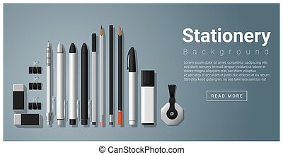 Stationery scene with set of office supplies background