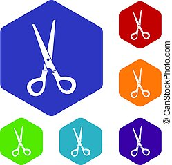 Stationery scissors icons set hexagon