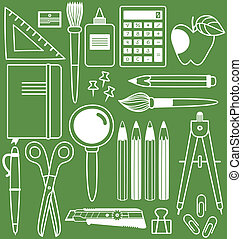 Stationery set of different school items, vector ...