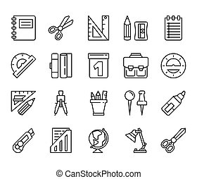 stationery. Set of linear icons