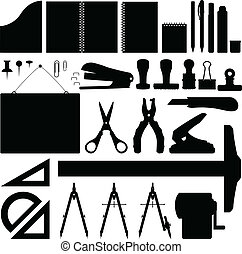 stationery, set, ufficio, vettore