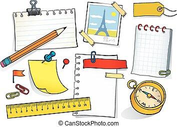 Stationery set - Vector sketch illustration of stationery...