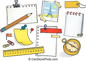 Stationery set - Vector sketch illustration of stationery...
