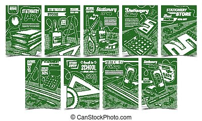 Stationery Shop Advertising Posters Set Vector