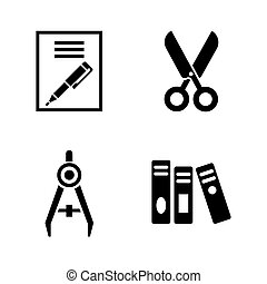 Stationery. Simple Related Vector Icons