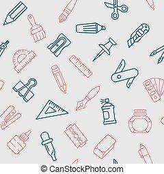 Stationery tools seamless pattern, thin line style, flat design.