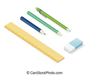 Stationery Vector Set In Isometric Projection