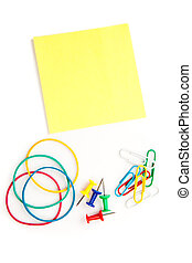 Stationery whose pushpins elastics paperclips adhesive notes
