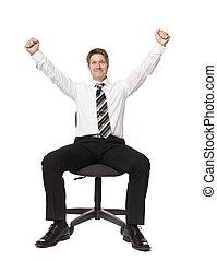 stationieren, mann, stuhl, buero, glücklich