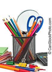 stationnaire, école, bureau, home., appareils
