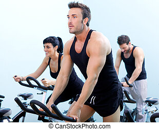stationnaire, rotation, bicycles, fitness, homme, dans, a,...
