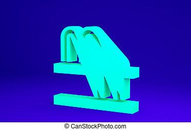 stationnement, concept., icône, bleu vert, minimalisme, illustration, render, vélo, 3d, arrière-plan., isolé