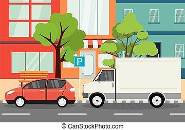 stationnement, rue vide, endroit, ville, ville