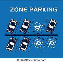 stationnement, scène, zone, icônes