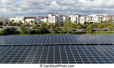 stationnement, solaire, vue, puissance, installed, aérien, ...