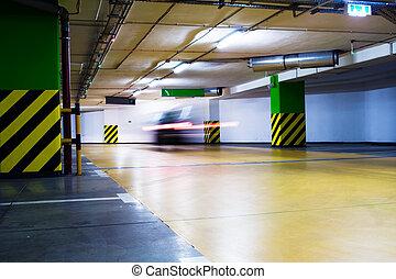 stationnement, voiture, garage, en mouvement, brouillé