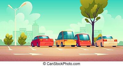 stationnement, voitures, rue, route marque, ville