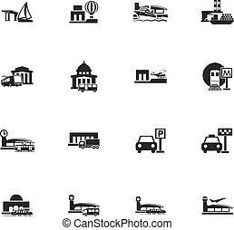 Stations of public transport icons set