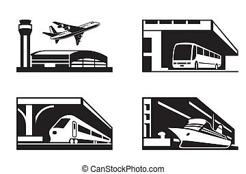 Stations of public transport in perspective - vector...