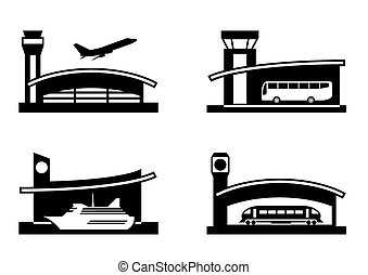Stations of public transport - vector illustration