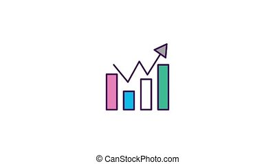 statistic bar graph diagram arrow growth animation hd