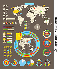 Statistic information of different industries. Infographic...
