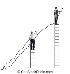 statistica, aumento, persone affari