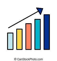 statistica, sbarra, fondo, grafico, freccia, bianco