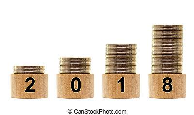statistica, soldi, isolato, 2018, fondo, anno, crescente, bianco