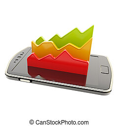 Mobile report statistics analysis conception as statistical data indicators over smart phone screen surface isolated on white