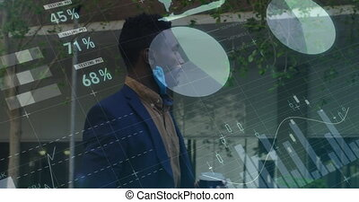Statistical data processing against african american man with lowered face mask walking. global finance and business technology concept