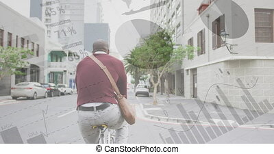 Statistical data processing against rear view of african american senior man riding bicycle. global finance and economy concept