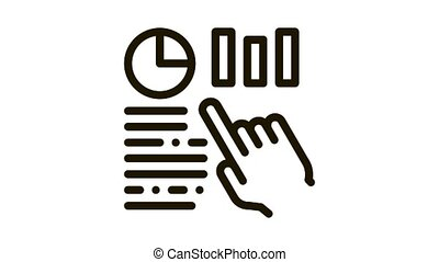 Statistician Assistant Hand Icon Animation. black Manager Hand Gesture Pointing On Statistic Infographic animated icon on white background