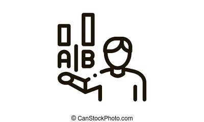 Statistician Assistant Man Icon Animation. black Human Manager Analytic Worker Silhouette Compare Graphs animated icon on white background