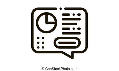 Statistician Report Spoken Icon Animation. black Statistician Analytics With Diagram And Text In Quote Frame animated icon on white background