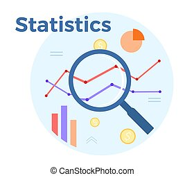 Statistics analysis vector flat illustration. Concept of accounting, analysis, audit, financial report. Auditing tax process. EPS 10