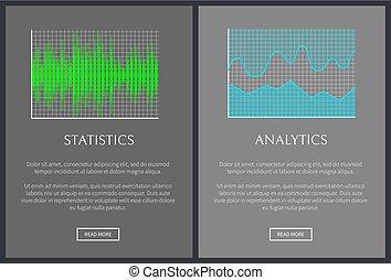 Statistics and Analytics Charts, Vector Banner