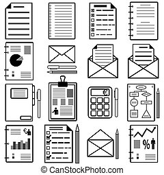 Statistics and analytics file icons. Vector illustration.