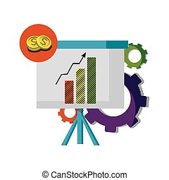 statistics bar growing presentation with gears