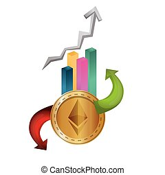statistics bars with ethereum vector illustration design