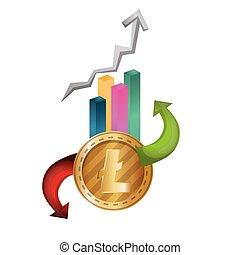 statistics bars with litecoin vector illustration design