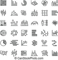 Statistics business graphs and charts outline vector icons. Financial diagrams line pictograms