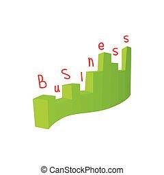 Statistics business icon, cartoon style