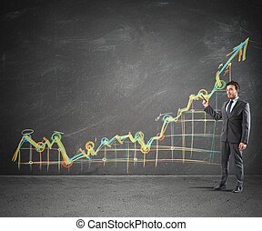 Businessman showing prositive statistics of the Company