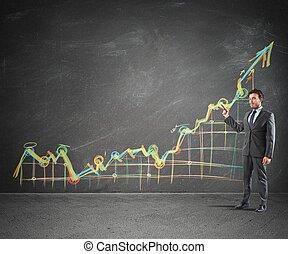 Statistics - Businessman showing prositive statistics of the...