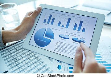 Statistics - Close-up of a financial analyzer holding a...